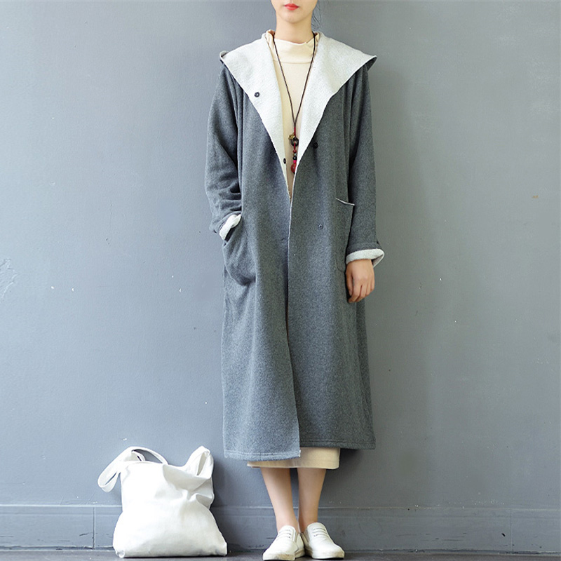 2018 Fashion CELMIA Winter Long Sleeve Hooded Pockets Buttons Coat Fleece Warm Jacket Work Office Lady Long Outerwear Plus Size
