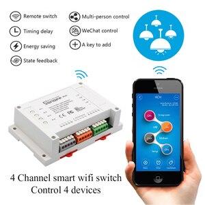 Image 5 - Sonoff 4CH Wifi anahtarı akıllı ev 4 kanal uzaktan kumanda ev otomasyon modülü açık/kapalı kablosuz zamanlayıcı DIY anahtarı din raylı montaj