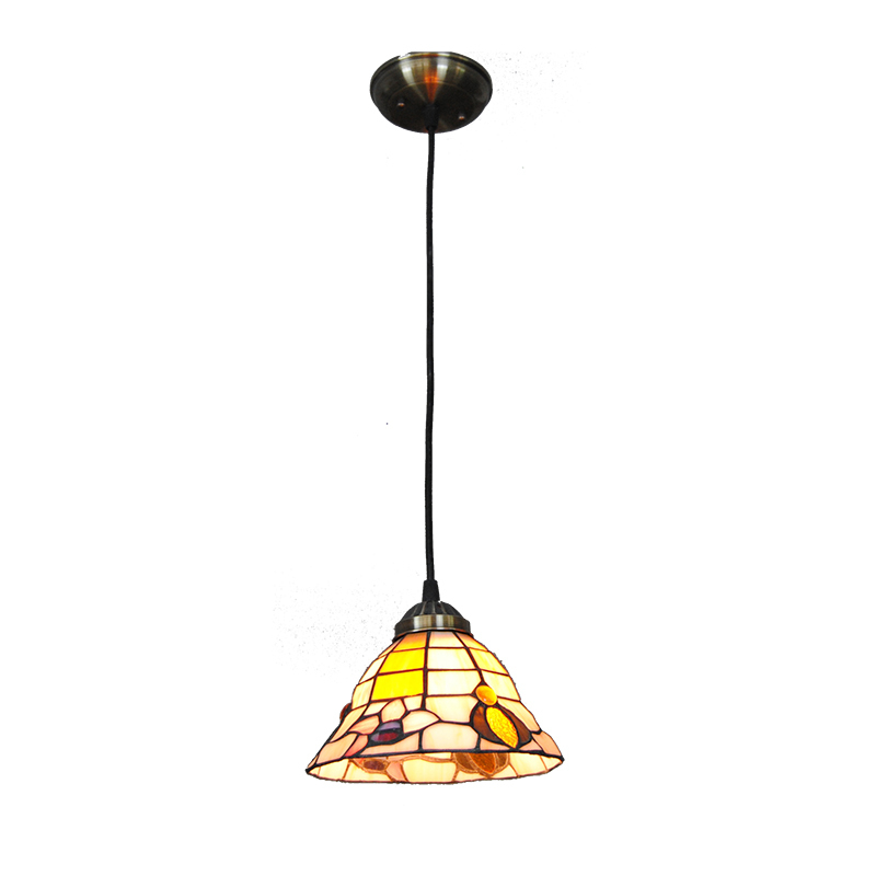 Mediterranean Style Flower Pattern Hanging Lamp Fixture Vintage Stained Glass Pendant Light Home Decor Bar Cafe Lighting PL732 tiffany mediterranean style peacock natural shell ceiling lights lustres night light led lamp floor bar home lighting