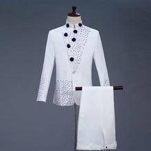18th Century สีขาวสองชิ้นพรหมชุด Retro Blue diamond tunic Suit & Blazer ชุด S 2XL