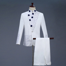18th Century White Mens Two Piece Prom Suits Retro Blue diamond Chinese tunic Suit & Blazer Costumes S 2XL