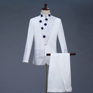 Image 1 - 18th 世紀白人男性のツーピースウエディングドレススーツレトロブルーダイヤモンド中国チュニックスーツ & ブレザー衣装 S 2XL