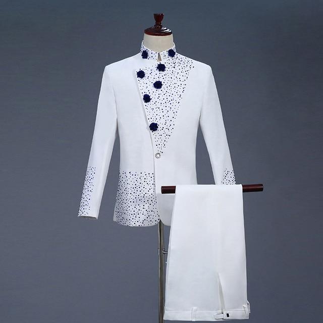 18th 世紀白人男性のツーピースウエディングドレススーツレトロブルーダイヤモンド中国チュニックスーツ & ブレザー衣装 S 2XL