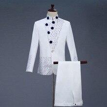 18th Yüzyıl Beyaz erkek Iki Parçalı Balo Takım Elbise Retro Mavi elmas Çin tunik Takım Elbise ve Blazer Kostümleri S 2XL