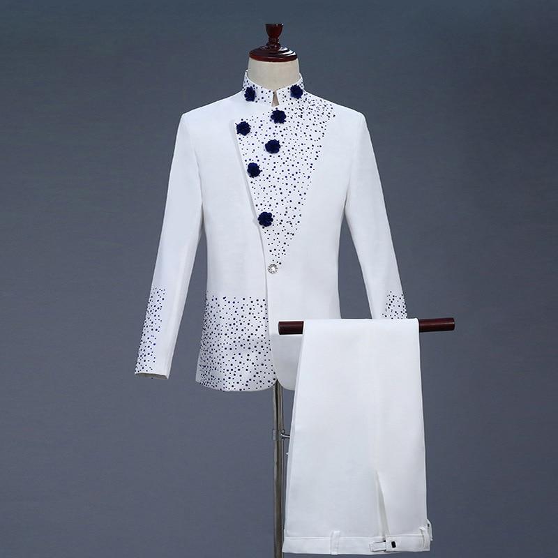 Trajes de graduación de dos piezas de hombre blancos del siglo XVIII traje de túnica chino del Diamante Azul Retro y trajes de Blazer S 2XL-in Trajes from Ropa de hombre    1