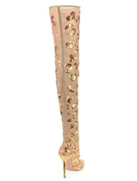 Bahar Yeni Kadın Moda Altın Sivri Burun Zip Geri Stiletto Topuk Sequins Bling Bling İnce Uyluk Diz Üzerinde Uzun çizmeler Bayan