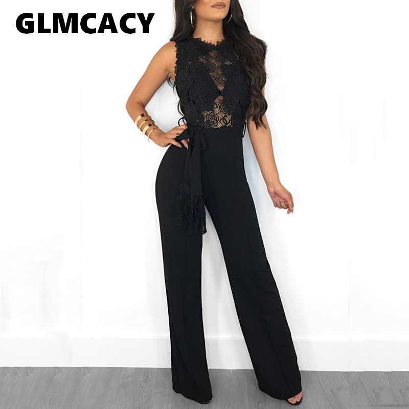 Women Sexy See Through Sleeveless Lace   Jumpsuits   Summer Wide Leg Long   Jumpsuits