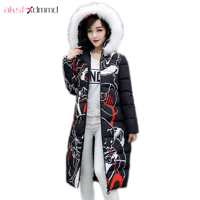 AKSLXDMMD Parkas Mujer 2017 New Winter Women Jacket Fur Collar Hooded Printed Fashion Thick Padded Long Coat Female LH1077 akslxdmmd women winter jacket 2017 new female jacekt fashion hooded printed letters thick padded woman coat parkas mujer lh1066