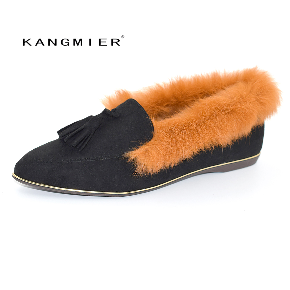 KANGMIER Ballet Flat Fur Shoes Women Shoes Pointed Toe Casual Women Suede Edging Woman Autumn Flatie in Tan Black Coffee Canvas slhjc 2017 autumn flat heel shoes pointed toe women flats with metal chain real fur loafers work shoes d25