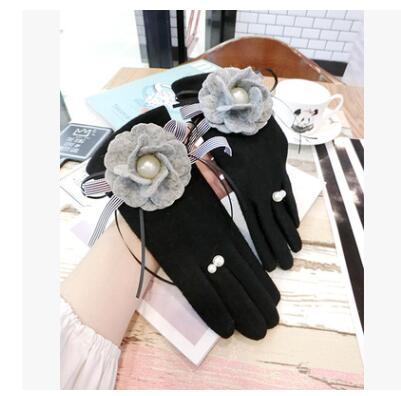 New Grey Wool Flower Bows Women Fleece Finger Gloves Touch Screen Pearl Ring Gloves Women's Gloves