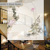 MOMO Blackout Lotus Fish Window Curtains Roller Shades Blinds Thermal Insulated Fabric Custom Size, Alice 445