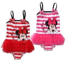 Girls One Piece Swimwear Cartoon Minnie Striped One-Piece Suits Mesh Dress Style Girls Cute Beachwear Bathing Suit