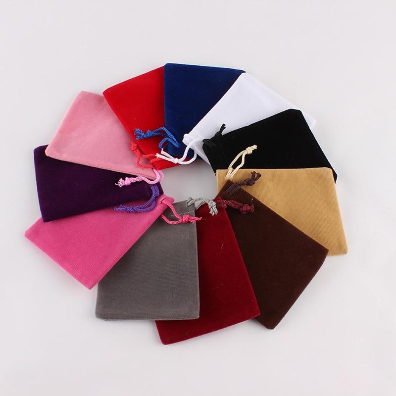100Pcs/lot 7*9 Cm Custom Logo Printed Drawstring Bag Velvet Jewelry Pouch Christmas Gift Bag Storage Bag