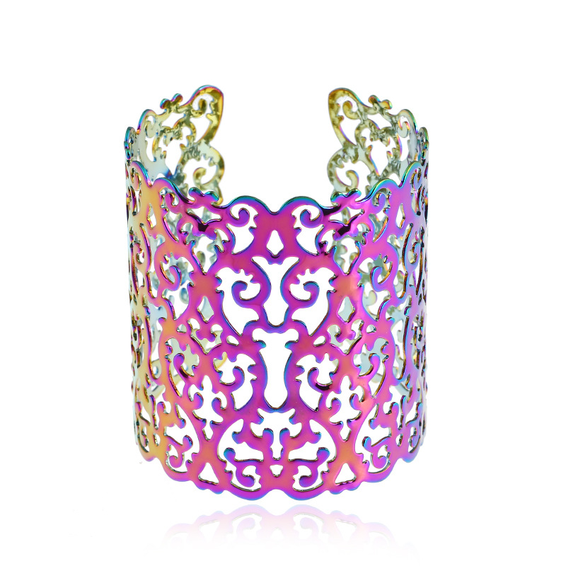Metal Opening Wide Surface Carving Bangle Geometric Colorful Changing Plated Hollows Wide Bracelet Factory Direct Sale 2019 Hot