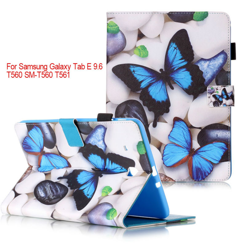 Fashion Magnetic stand pu leather cover case For Samsung Galaxy Tab E 9.6 T560 T561 funda Tablet cases+flim +stylus pen