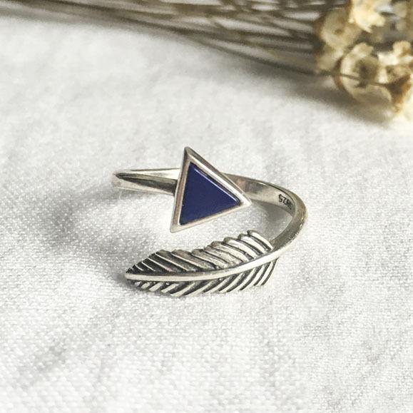 Os Recém-chegados Geométrica Retro Pena Anel Triângulo Para A Menina Mulheres Anéis de 925 Anéis de Prata Jóias Presente