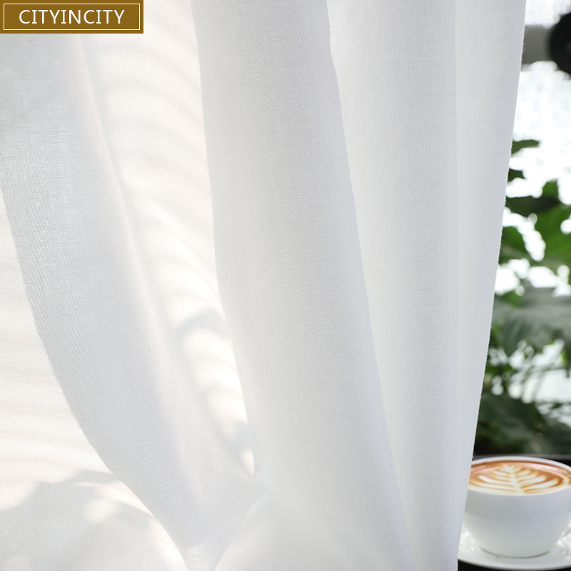 CITYINCITY White Curtain For Living Room Soft Home Decor Sheer Faux Linen Voile Modern Simplicity Curtains For Bedroom