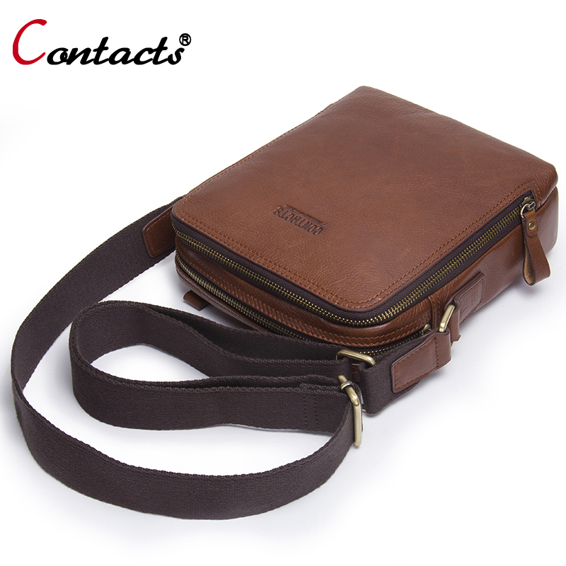 Contact's Genuine Leather Bag Men Shoulder Crossbody Bags For Men Messenger Bag Men Leather Handbag Male Cross Body Bags Small zznick 2017 new men genuine leather messenger bag male cowhide leather cross body shoulder bag vintage men bags handbag