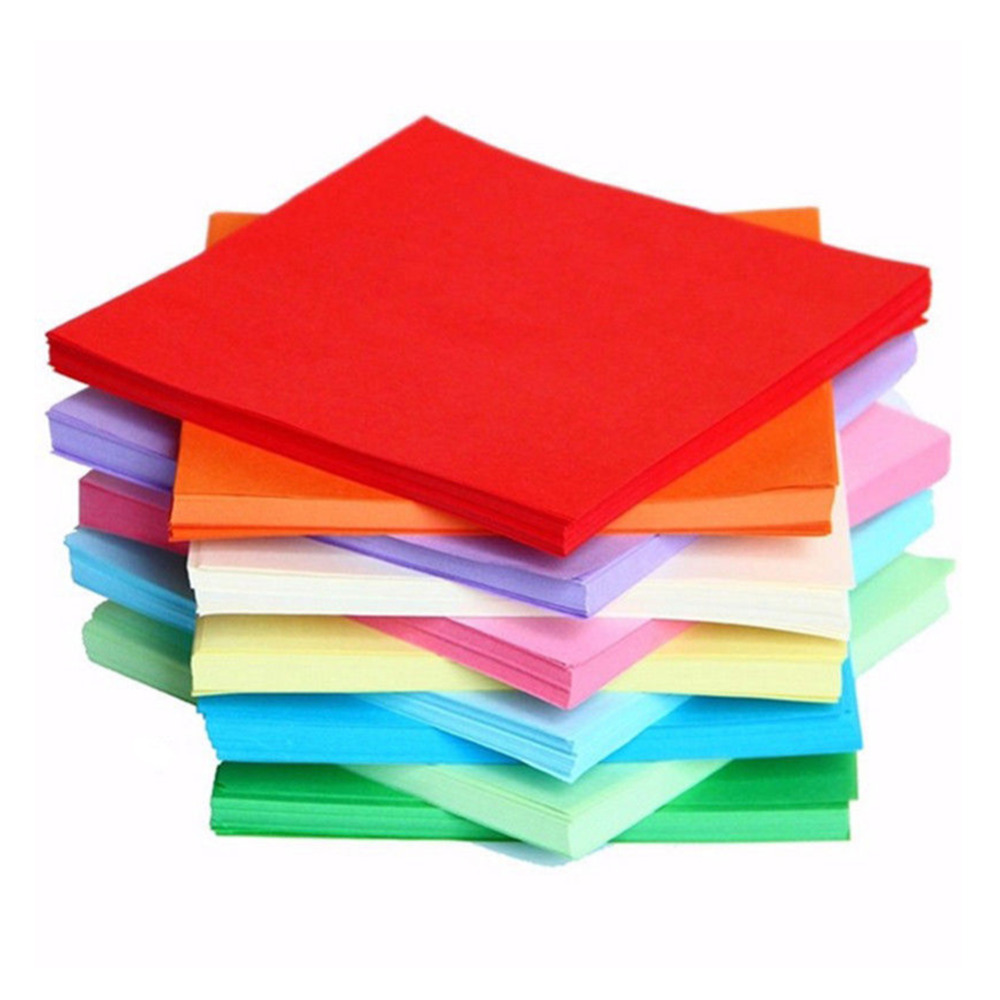 Fatpig fashion Sheets-Origami-Paper-Double-Side-Coloured-Square-Assorted-DIY-Folded-Papercraft for baby kids home decoration