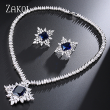 ZAKOL Classic Bridal Accessories Anniversary Shiny Sliver Color Big Rectangle Cubic Zircon Jewelry Set FSSP241