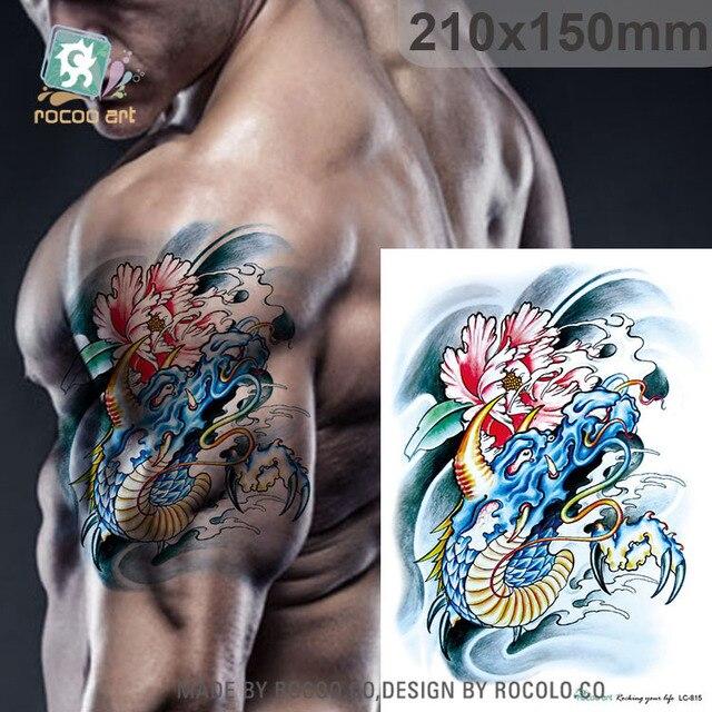 imperméable à l'eau de tatouage autocollants couleur fleur bras