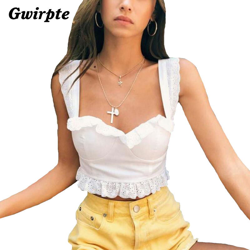 774d6afbb6b Gwirpte 2018 New Summer Autumn Tube Crop top Women Bow Tie Strap Ruched  tank Top Lettuce Edge Elastic Camis women top-in Tank Tops from Women s  Clothing ...