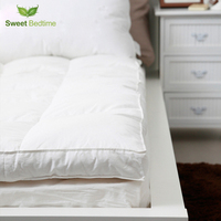 King Double Layer Down Proof Fabric Bed Mattress Topper White Duck Down Tatami Mat Feather Mattress