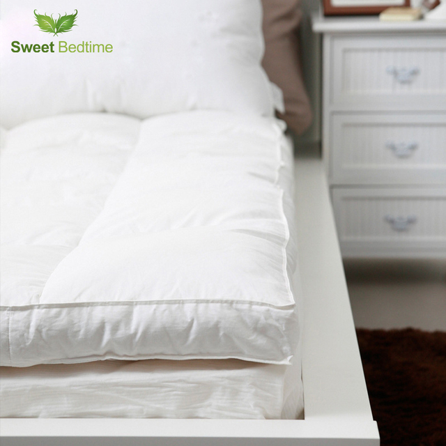 King Double Layer Down Proof Fabric Bed Mattress Topper White Duck Tatami Mat Feather