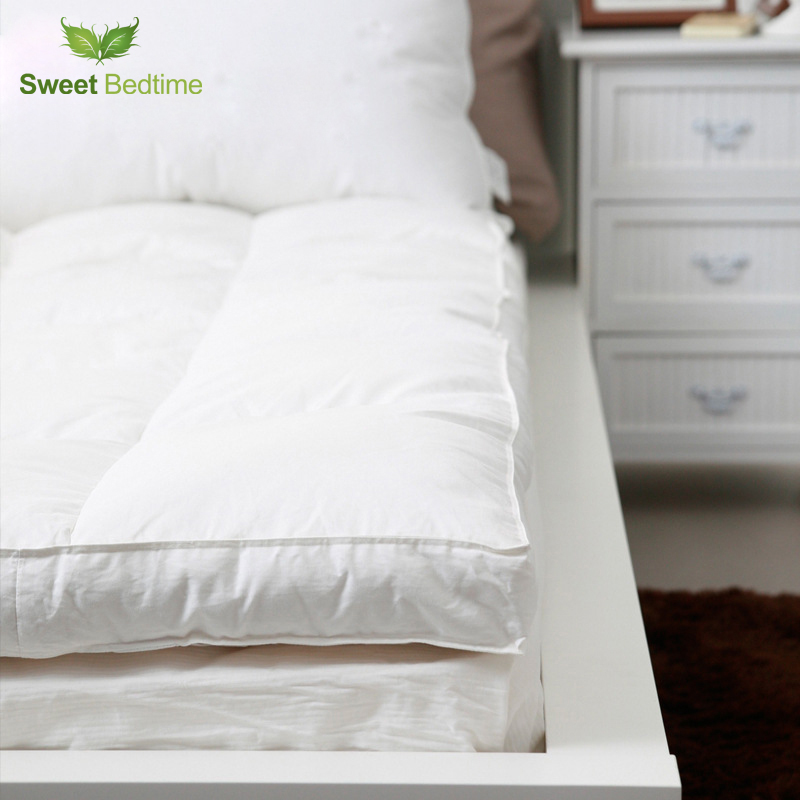 king double layer downproof fabric bed mattress topper white duck down tatami mat feather