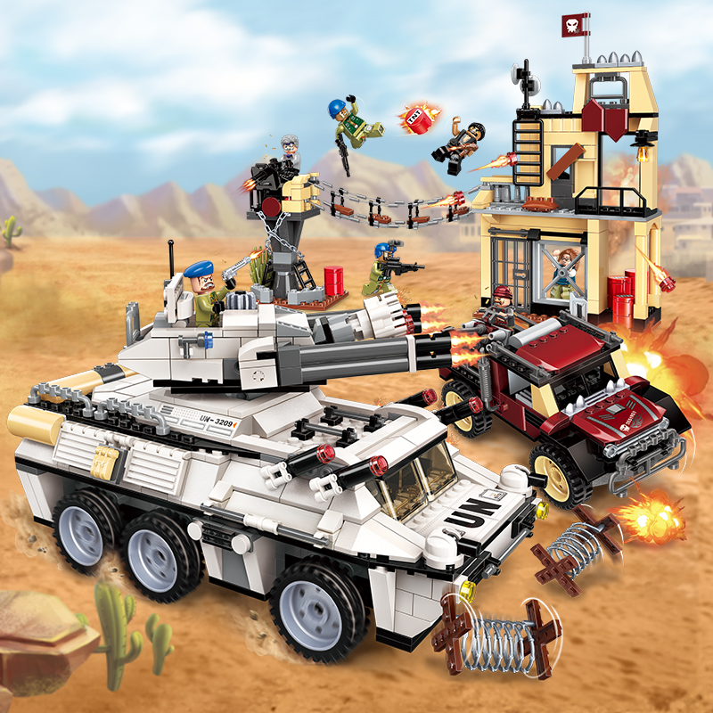 Enlighten Building Block Peacekeeping Force Thunder Mission Heavy Armed Vehicle Attack 7 Figures 935pcs Educational Bricks Toy