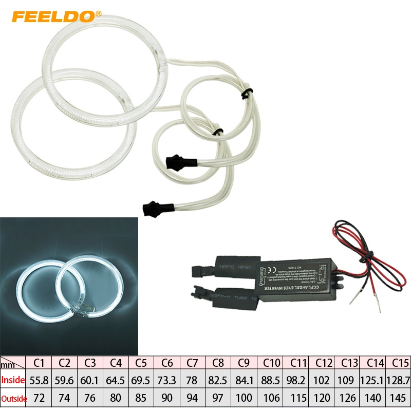 FEELDO 2Pcs/Pair All Car Universal Full Round Daytime Running Light CCFL Angel Eyes Headlights Kits #FD-4299
