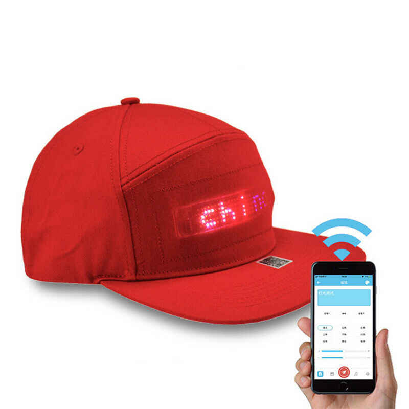 Bluetooth LED Hat Programmable Scrolling Message Display Board Baseball Cap Hip Hop Party Parade Golf Cap