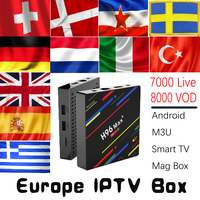 H96 MAX плюс 4 г + 32 г 4 г + 64 г Android 8,1 ТВ коробка с 7000 живыми 8000 VOD Великобритании DE Испания Италия голландский Nordic Европа HD IP ТВ Декодер каналов кабе