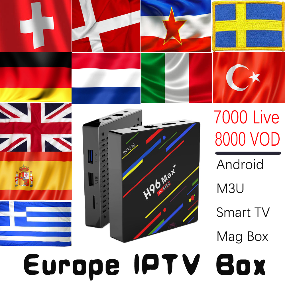 H96 MAX Plus 4G+32G 4G+64G Android 8.1 TV Box with 7000 Live 8000 VOD UK DE Spain Italy Dutch Nordic Europe HD IPTV Set Top Box 1 year italy iptv europe iptv in h96 max android iptv box 4g 32g rk3399 mali t860 gpu android 7 0 set top box italy uk spain