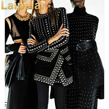 Laipelar Newest Fashion 2018 Fall Winter Baroque Designer Runway Dress Womens Long Sleeve Metal Beaded Rivet Bodycon