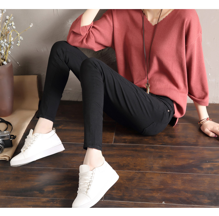 LYJMTDBK Women's white trousers pencil pants 19 spring and autumn button pocket pants women's high waist elastic feet pants 14