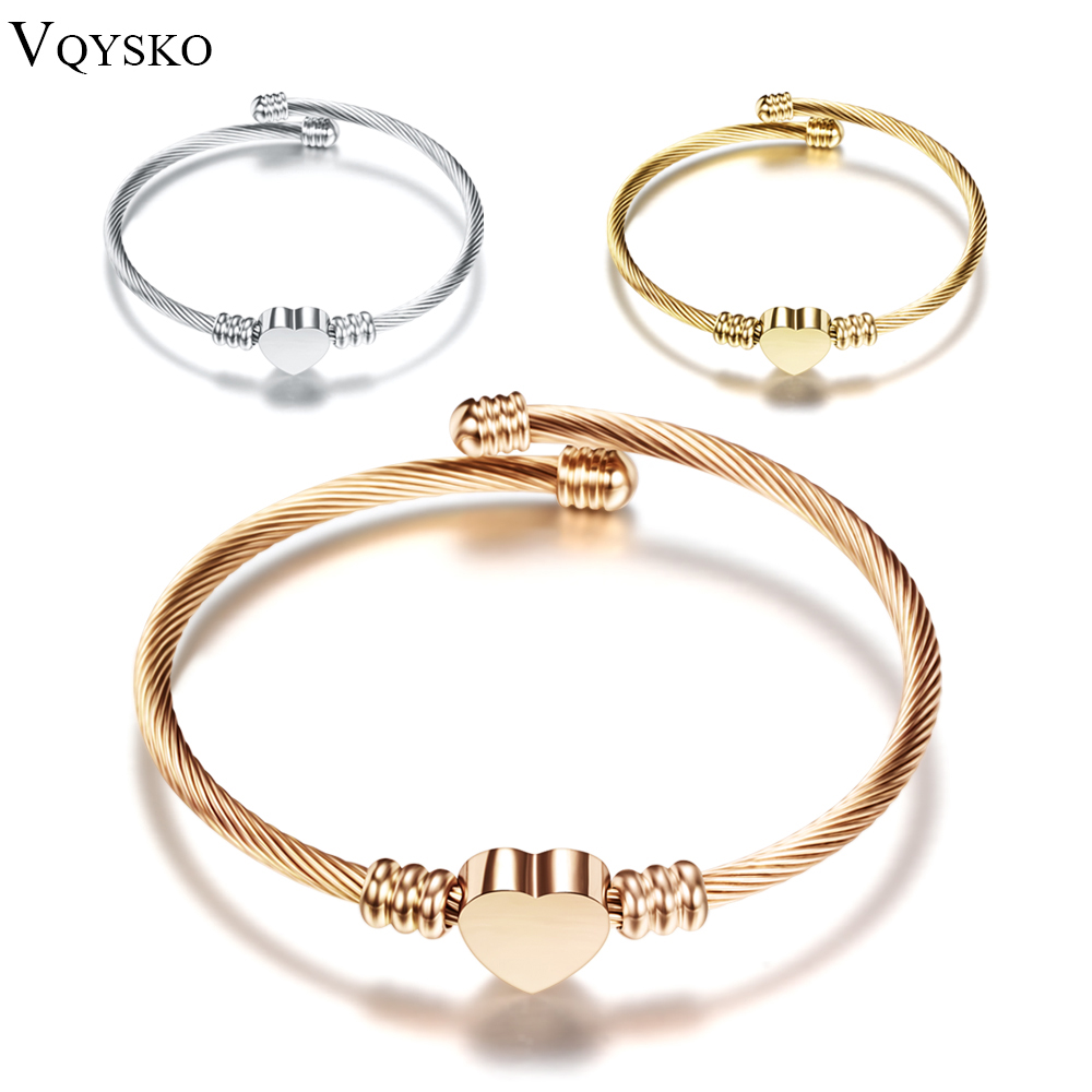 Fashion 3Colors Smykker Kvinner Rustfritt Stål Twisted Cable Wire Heart Charm Armbånd Bangle