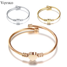Fashion 3Colors Jewelry Women's Stainless Steel Twisted Cable Wire Heart Charm Bracelet Bangle(China)