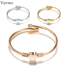 Fashion 3Colors Jewelry Women's Stainless Steel Twisted Cable Wire Heart Charm Bracelet Bangle