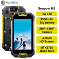 Snopow M5 MTK6735 Quad Core Android 5.1 Smartphone 2GB 16GB 4.5'' NFC OTG 13MP IP68 Waterproof 4G LTE Mobile Phone