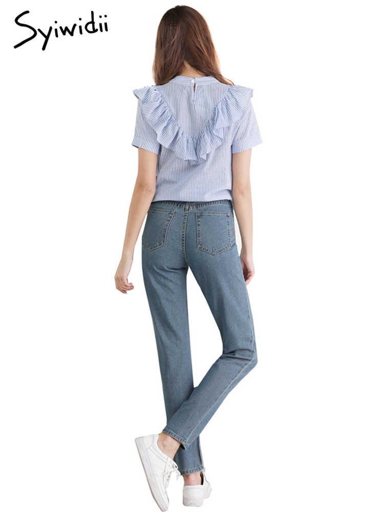 Летние женские узкие джинсы узкие джинсовые брюки однотонные длинные винтажные синие уличный стиль уличная 2019