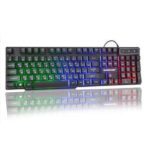 Image 2 - Teclado USB para juegos por cable, 104 teclas, diseño en inglés ruso, teclado brillante arcoíris para ordenador portátil, ordenador portátil