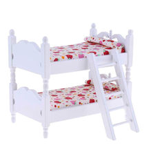 1:12 Handmade Dollhouse Miniature Children Bedroom Furniture Bunk Bed Ladder(China)