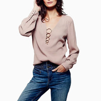 New Spring Autumn Sequined Ring Chic Lace Up Women Tops Blouse V Neck Ladies Long Sleeve