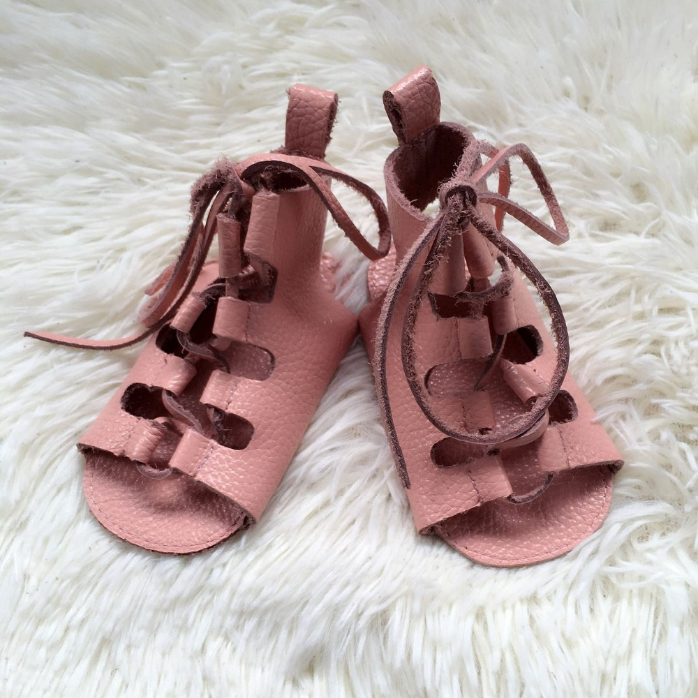 Wholesale 10pairs/lot summer genuine leather baby barefoot sandals soft sole lace up baby girls gladiator sandals kids shoes