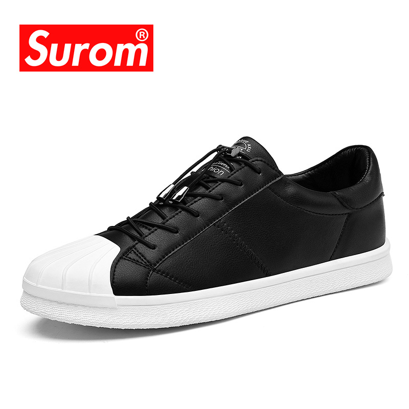 SUROM New Spring Casual Shoes Mens Black Color Boys Simple Sneakers Comfortable Lace Classic Man Sneaker White Shoes for men