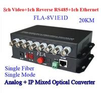 8V1E1D CCTV Surveillance vidéo données réseau Fiber Médias Émetteur-Récepteur 8ch Analogique + 1ch RS485 données + 1ch 10/100 M Ethernet 20 KM FC