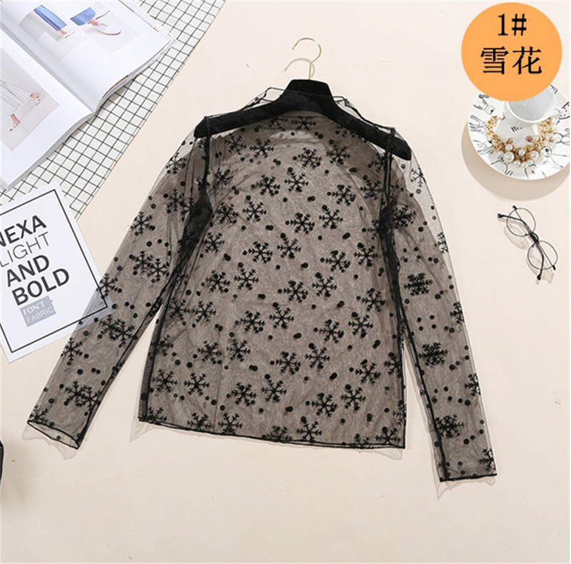spring Summer Women Lace Blouses Shirt Women tops Sexy mesh Blouses See through Long Sleeve Black