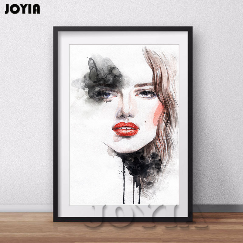 Watercolor Canvas Art Print Fashion Girl Illustrator For Home Decor Modern Bedroom Office Decorative Drawing Picture No Frame