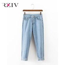 RZIV 2017 женские случайные сплошной цвет высокая талия керлингу редька брюки джинсы